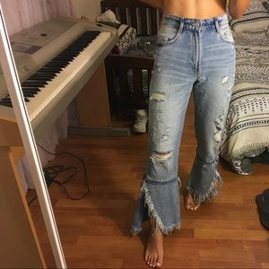 zara distressed high waist flare jeans